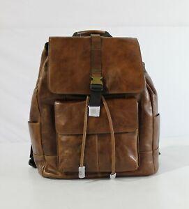 Fossil Unisex Buckner Rucksack Backpack KB7 Cognac Brown Large NWT $348