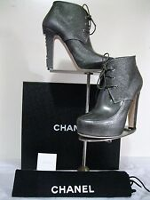 CHANEL LACE UP, KHAKI  BOOTIE, NEW with box, Size 37