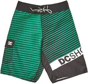 NWT $48 DC Angular Boys Striped Swim Shorts Trunks Turf Green/Black Size 10