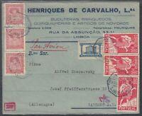 45579) Portugal LISBOA 1941 Brief mit Wehrmacht-Zensur nach Gablonz a. Neisse