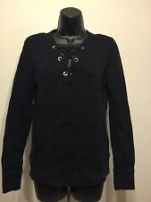 Dana Buchman Black Cotton Knit Jersey Pullover Sweater Sz Med with front pocket