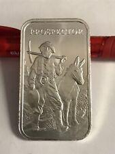Prospector and Donkey Collectible Silver Art Bar 1oz .999 Silver