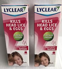 Two Lyclear Head Lice & Eggs Treatment Lotion 100ml With Comb. New.