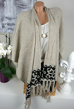 Poncho Shawl Cardigan Knitted Ethno Nude Beige Black Fringes Vintage Hippie