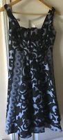 Tracy Reese Black Blue Grayish Floral Print womens Maxi Dress Size 2 100% Silk