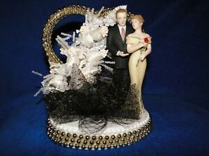 New Elegant Anniversary or  Wedding Couple Caketopper with Gold Beaded Heart