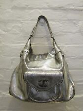 JUST CAVALLI silver leather over the shoulder slouchy shopper bag