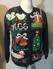 Signatures By Northern Isles Hand Knit Christmas Sweater M Reindeer Tree Ugly