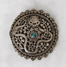 Very fine old TIBET brooch or fibula with turquoise, dragon motif