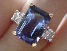 18 quilates chapado 2.60 ct Fina Tanzanita y diamante 3 piedra anillo