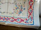 Beautiful+Red+Yellow+and+blue+floral+Vintage+1950%27s+table+cloth+40x40