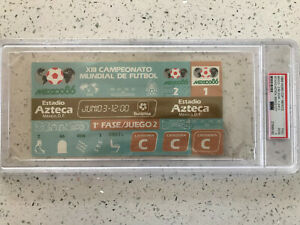 1986 Mexico WORLD CUP  June 3  FULL TICKET PSA GRADED  Mexico 2- 1 Belgium