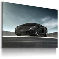 LAMBORGHINI AVENTADOR BLACK Sports Car Wall Art Canvas Picture AU493  MATAGA