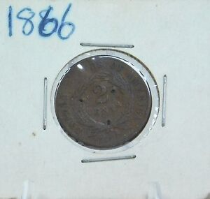 Antique 1866 Copper Two 2-Cent Piece Coin CP66