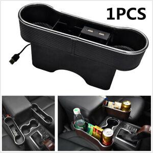 Carbon Fiber Black Dual USB Car Seat Gap Storage Box Organizer Dual Cup Holder