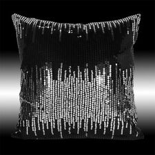 SHINY SILVER BLACK SEQUINS DECO THROW PILLOW CASE CUSHION COVER 16""