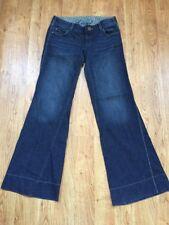 Level 99 Anthropologie Dark Wash Low Rise Wide Leg Jeans Sz 27