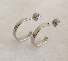 316L Surgical Stainless Steel Half Hoop Stud Earrings 17mm