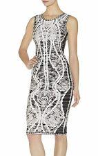 Herve Leger Elizabeth Chochet dress XS Sheath Black White Print NWT