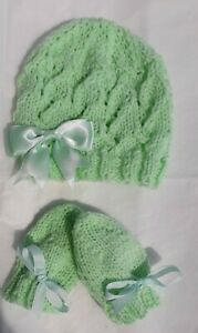 MINT Hand Knitted Baby Hat&Mittens 0-3 months