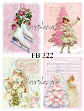 Vintage Victorian Pink Christmas Angels 4 PRINTS on FABRIC Quilting FB 222