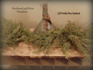 Primitive Country 6 ft Faux Prickly Pine Christmas Garland