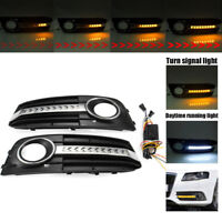 Flowing LED Honeycomb Mesh Grille Fog Light Turn Signal Fit For    A4 B8 09-11