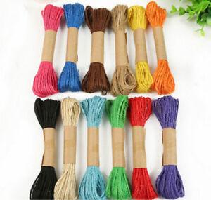 10M Handmade Braid Color Burlap Natural Fiber Jute Ribbon Twine Rope Cord String