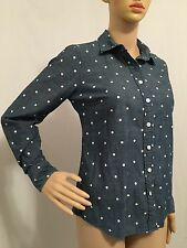 J.Crew Blue Polka Dot Chambray Button Down Denim Top Shirt Womens Size S Small