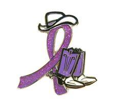 Western Boots Hat Glitter Ribbon Lavender Awareness Ribbon Pin Cowgirl Cowboy