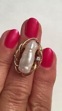 Vintage Baroque Pearl Diamond 14K Yellow Gold Ring