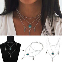 Women Feather Pendant Chain Necklace Sweater Statement Retro Multilayer Jewelry