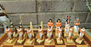 Veronese Egyptian Handpainted Chess Set Boxed Board Hieroglyphics Colourful
