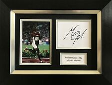 MICHAEL JOHNSON HAND SIGNED AUTOGRAPH FRAMED PHOTO DISPLAY OLYMPICS.