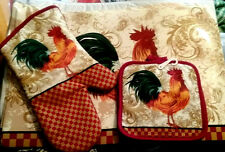 7 PC Rooster Country Themed Vinyl Table Placemats Potholders Oven Mitt Kitchen