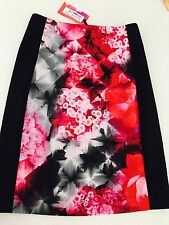 ALANNAH HILL WOMENS FLORAL SKIRT Silk BLEND LINED WORK PARTY NEW WITH TAGS SZ 8