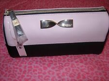 VICTORIA'S SECRET COSMETIC MAKEUP Bag Case Pink & Black w/Gold Bow NEW!! NWT