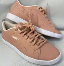 Puma Smash Perf Sneakers Perforated Leather Peach Beige Soft Foam Women Sz 6.5
