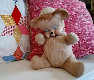 """Vintage Rubber Faced Stuffed Bear, Plush Crying Baby Toy 12"""""""