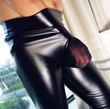 Men Sexy Faux Latex Leggings Strethcy Shiny Wetlook Cashmere Leather JJ Pants