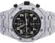 Mens 42 MM Audemars Piguet Royal Oak Offshore Chrono Black Dial Diamond Watch