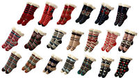Womens Christmas Thick Knit Sherpa Fleece Lined Thermal Fuzzy Slipper Socks 9-11