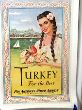 ORIGINAL PAN AM POSTER TURKEY MOUNTED ON LINEN Ca. 1955