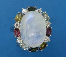 Vintage sterling silver LARGE MOONSTONE RUBY PERIDOT SAPHIRE COCKTAIL ring MLD