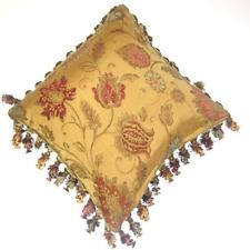 Paoletti Zurich Floral Chenille Jacquard Tasselled Cushion Cover, Gold, 60 x 60