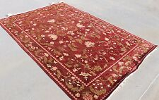 R1143 Superb Rich Red Color Tibetan Wool & Silk Rug 6' X 9' Handmade in Nepal