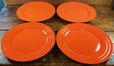 "4 Pc Rachael Ray Double Ridge Orange Bands Meyer Stoneware 10 7/8"" Dinner Plates"