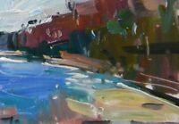 "JOSE TRUJILLO Oil Painting Landscape River Edge Trees Study Small 6X8"" ORIGINAL"