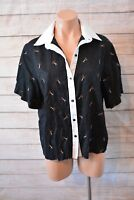Antipodium London Top Sz 10 Medium Black White Scissors Shirt Blouse