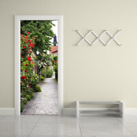 3D Roadside Roses Removable Door Wall Mural Sticker Home Decor 30.3x78.7""